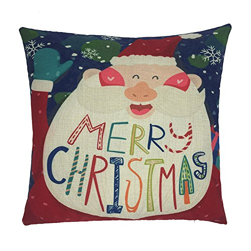 Happy Christmas Pillow Cases,Napoo Cute Elk Gloves Santa Claus Snow Cartoon Pattern Linen Cushion Cover For Bedroom Sofa Home Decor (C)