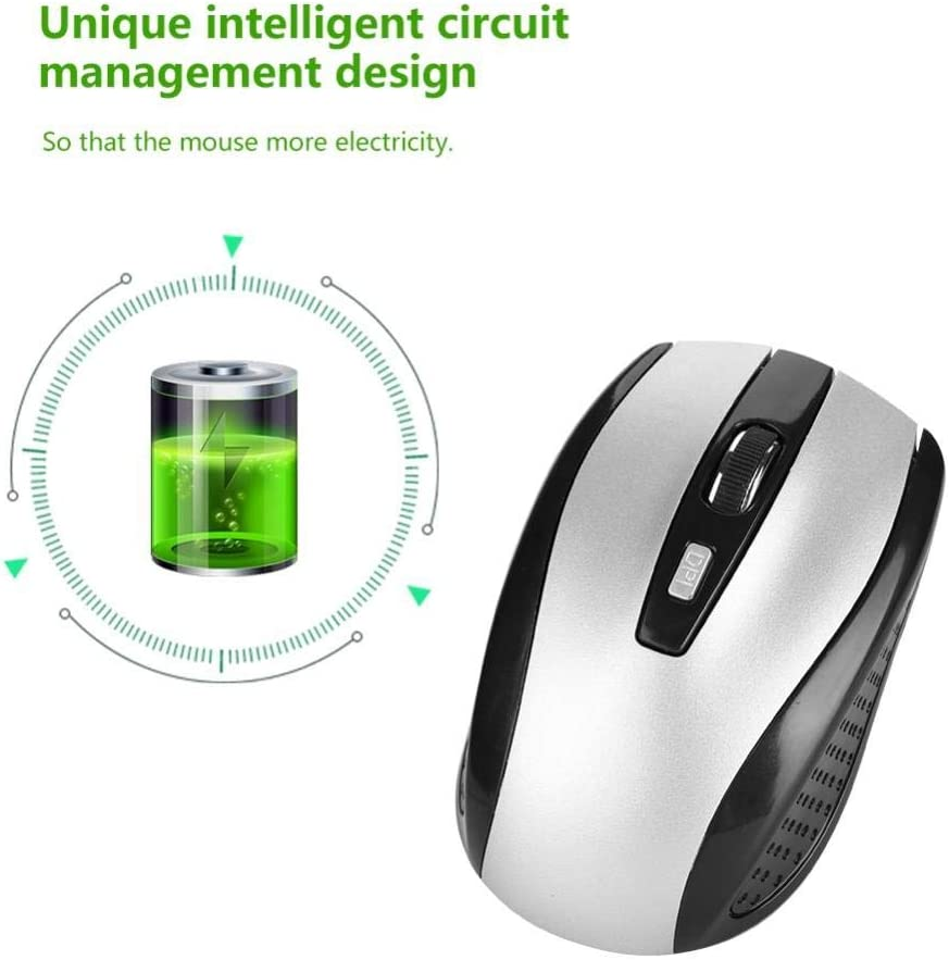 Ergonomic Mouse Portble 6D 2.4GHz Wireless Optical Cordless Mouse with USB Receiver for PC Laptop Computer Wireless Mouse