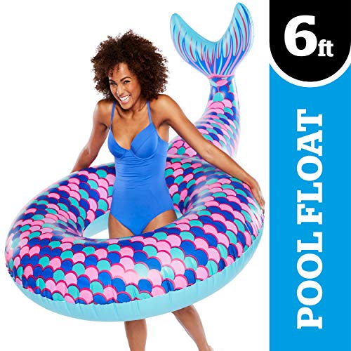 Mermaid Pool Float (BigMouth Inc Giant Mermaid Tail Pool Float, Funny Inflatable Vinyl Summer Pool or Beach Toy, Patch Kit)