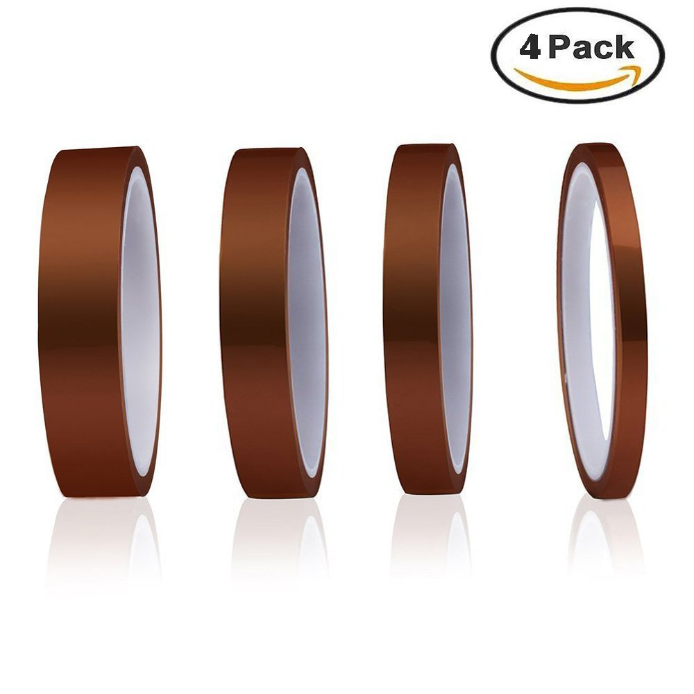 High Temp Tape,4Pack Heat Resistant Tape 5/8/12/15mmx30m Polyimide Masking Tape for Masking, Soldering, Powder Coating, Sublimation and Insulating Circuit Boards Twshiny