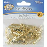 Pin Backs 1 Inch Gold (12 Pack)