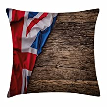Union Jack Throw Pillow Cushion Cover by Ambesonne, Flag of United Kingdom on Old Oak Wooden Board English Nation Country Britain, Decorative Square Accent Pillow Case, 18 X 18 Inches, Multicolor