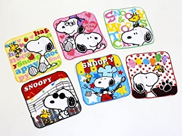 【 Snoopy 】 colorido Mini toalla ☆ pañuelo (Snoopy y Woodstock) 6 juego de toallas: Amazon.es: Hogar