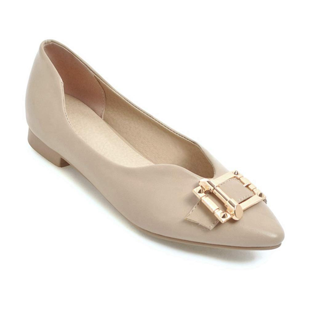 7bd1b8639d284 Amazon.com   Womens Classic Pointy Toe Ballet Flats Buckle Ballerina ...