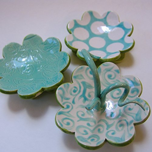- Love Birds & Polka-dots ceramic pottery Flower Dish -- set of 3