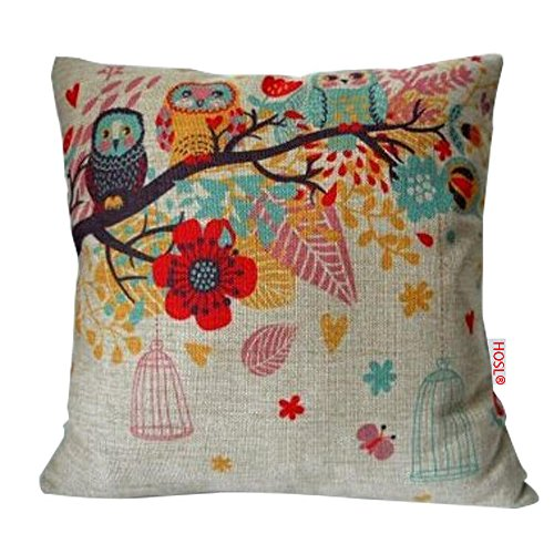 Decorative Throw Pillow Case Cushion Cover Owls with Birdcage