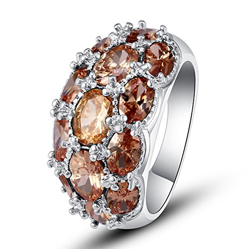 Band Morganite Ring - Psiroy 925 Sterling Silver Created Morganite Filled Knuckle Joint Ring Band