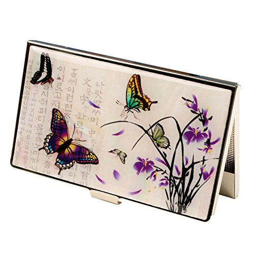 Mother of Pearl Purple Orchid Flower Butterfly RFID Blocking Protection Business Credit Name Card Holder Case Metal Stainless Steel Engraved Slim Purse Pocket Cash Money Wallet