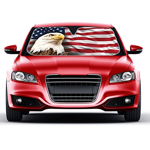 USA Eagle Flag Auto Sun Shade for Car SUV Truck - Stars & Stripes - Bubble Foil Jumbo Folding (Style Car Truck)