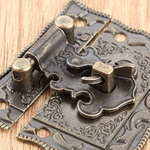 10 x Vintage Box Latch Hasp 51x43mm Jewelry Boxes Lock Clasp Wooden Case Metal Catch with Delicate Pattern Antique Bronze