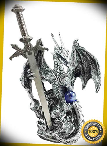 KARPP Legendary Silver Dragon Carrying Orb and Excalibur Sword Letter Opener Figurine Perfect Indoor Collectible Figurines ()