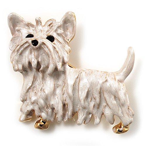 - White Enamel Puppy Dog Brooch (Gold Tone)