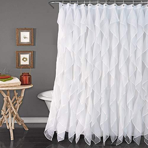 Reisen White Ruffle Shower Curtain Fabric/Cloth Farmhouse Bathroom Sheer Shower Curtain, 72in Long (Blue Retro Shower Curtain)