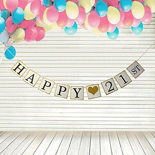 Happy 21st Birthday Banner Gold Glitter