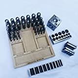 41 Piece Steel Dapping Doming Punch Block Set & Wooden Base Jewelry Making Metal Forming Tool