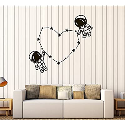 Vinyl Wall Decal Spaceman Astronaut Space Kids Room Stickers (583ig) White: Home & Kitchen