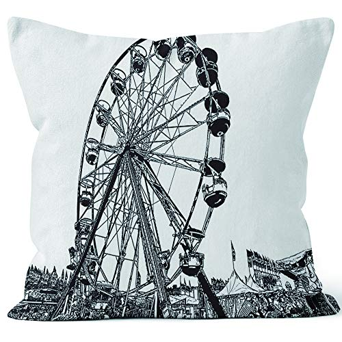 "Nine City Ferris Wheel at State Fair Sack Burlap Pillow,HD Printing Square Pillow case,20"" W by 20"" L"