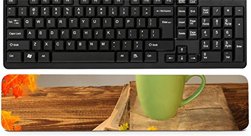 Liili Keyboard Wrist Rest Pad Long Extended Arm Supported Mousepad Cup of tea with autumn leaves reflection on newspaper wood Image ID 22759699