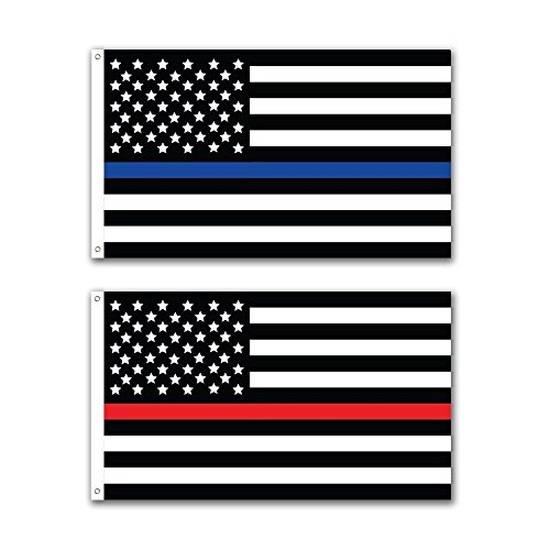 2 Pack Thin Blue Line and Thin Red Line Patriotic USA Police Fire Department Memorial American Flag 3x5ft 3x5 Grommets Fade Resistant Premium Quality Nylon Polyester
