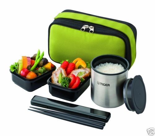japen lunch box bento jar keep warm food container pouch green