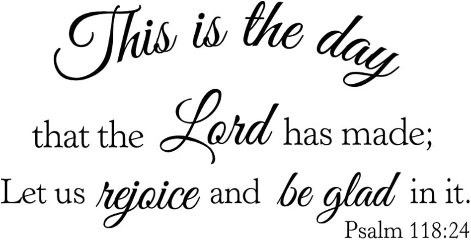 MOVANKRO This is The Day That The Lord has Made Let us Rejoice and be Glad in it Psalm 118:24 Vinyl Wall Decal Bible Verse Quote Décor