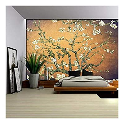That You Will Love, Alluring Work of Art, Orange with Purple Vignette Almond Blossom by Vincent Van Gogh Wall Mural