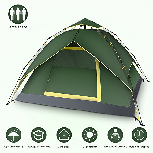 Yachee Automatic Hydraulic Tent, Pop Up 2-4 Person Instant Setup Tent for Camping, Double Layers UV Protection Waterproof Camping Tent with Sun Shelter for Hiking Picnic Backpacking Beach - Army Green