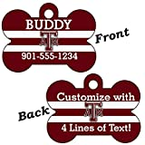 Texas A&M Aggies Double Sided Pet Id Dog Tag Personalized With 4 Lines of Text