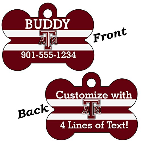 (uDesignUSA Texas A&M Aggies Double Sided Pet Id Dog Tag Personalized with 4 Lines of Text)
