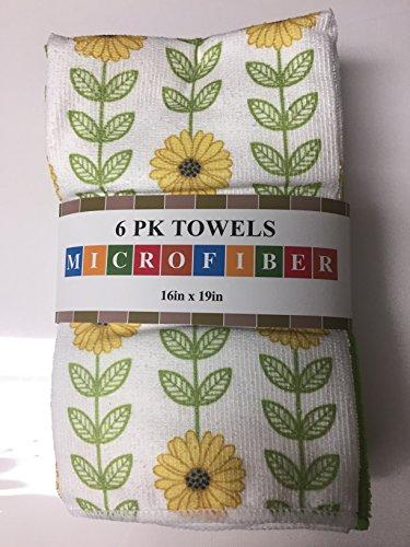 6PK Towels Microfiber 16in 19in Assorted (Sunflower)