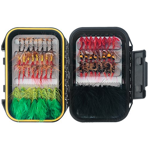 y Fishing Flies Set Included Dry Flies,Wet Flies,Streamer, Nymph, Emerger Kit with Waterproof Fly Box ()