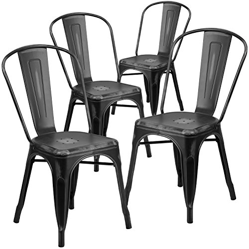 Flash Furniture 4 Pk. Distressed Black Metal Indoor-Outdoor Stackable Chair Color Slat Back Chair