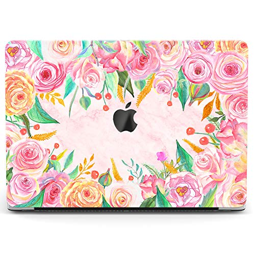 Wonder Wild Case For MacBook Air 13 inch Pro 15 2019 2018 Retina 12 11 Apple Hard Mac Protective Cover Touch Bar 2017 2016 2015 Plastic Laptop Print Flower Garland -