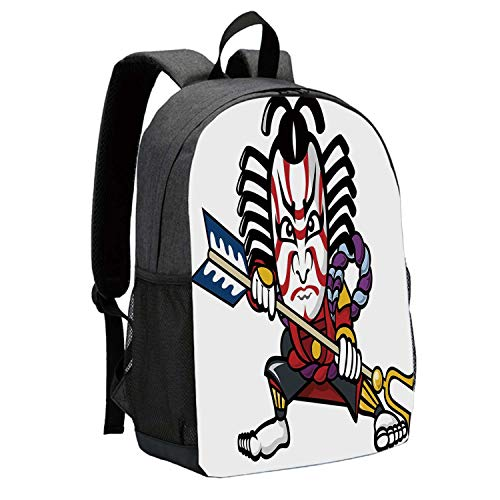 Kabuki Mask Decoration Durable Backpack,Scary Looking Ronin Figure with Weapon Exotic Samurai Mythology East Decorative for School Travel,12