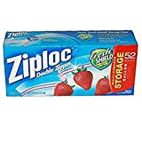 Ziploc Double Zipper Storage Bags - Gallon, 52 Count