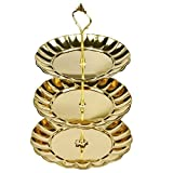 Sorive® 3 Tier Fruits Cakes Desserts Plate Stand Gold Color Stainless Steel Plates Candy/Dessert/Cake/Fruit Plate For Wedding &Home&Party (Gold)
