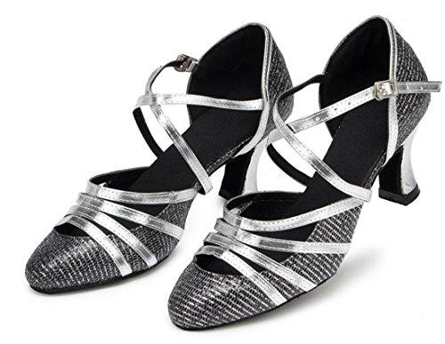 7cm Donna Sandali Heel Black con MGM Joymod Zeppa Silver 6I407qw