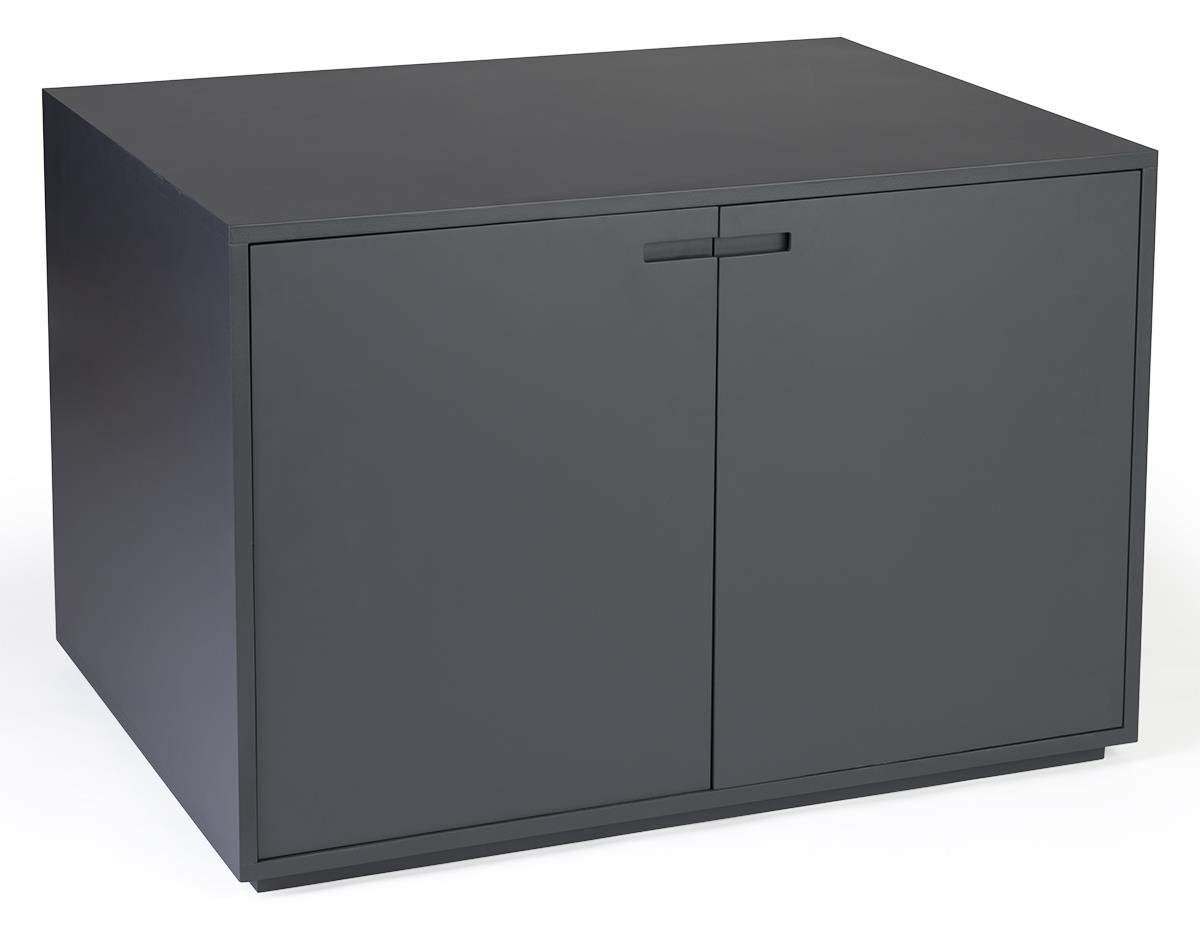 Displays2go Minimalist Storage Cabinet with Magnetic Hinged Doors - Gray (CBTBLGRY40)