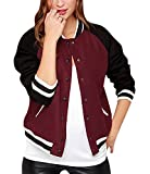 xiaoming Women's Causal Color Block Baseball Bomber Varsity Sport Jacket Coat