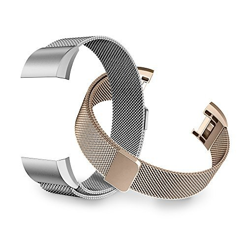Fitbit Charge 2 Bands, Tecson Stainless Steel Metal Milanese Replacement Wristband Bracelet Strap with Magnet Lock for Fitbit Charge 2, Rose Gold, Champagne, Rose Pink, (Champagne Gold & Silver)