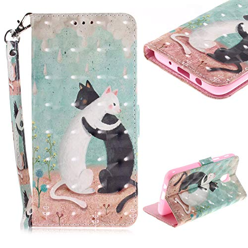 Cistor Wallet Case for Samsung Galaxy J3 2018,Stylish 3D Painting Stand Flip Cover Shockproof PU Leather Protective Case with Strap Card Slot Magnetic Closure for Samsung Galaxy J3 2018,Couple Cat
