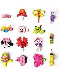 Hair Bows, 15PCS Animal Pattern Hair Clips, Boutique Handmade Grosgrain Ribbon No Slip Grip Metal Barrette for Girls Babies Children Hair Accessories, Unique Cute Hairpins