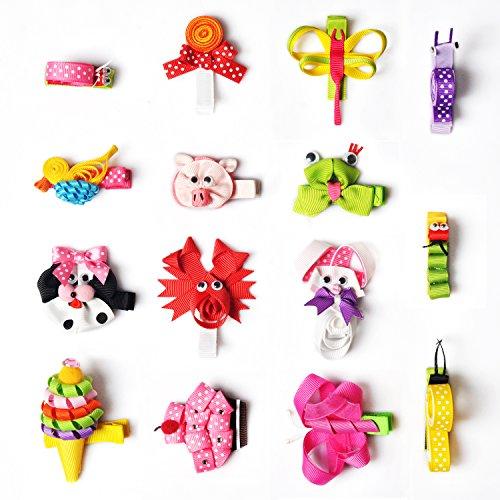 Hair Bows, 15PCS Animal Pattern Hair Clips, Boutique Handmade Grosgrain Ribbon No Slip Grip Metal Barrette for Girls Babies Children Hair Accessories, Unique Cute Hairpins by Imanom