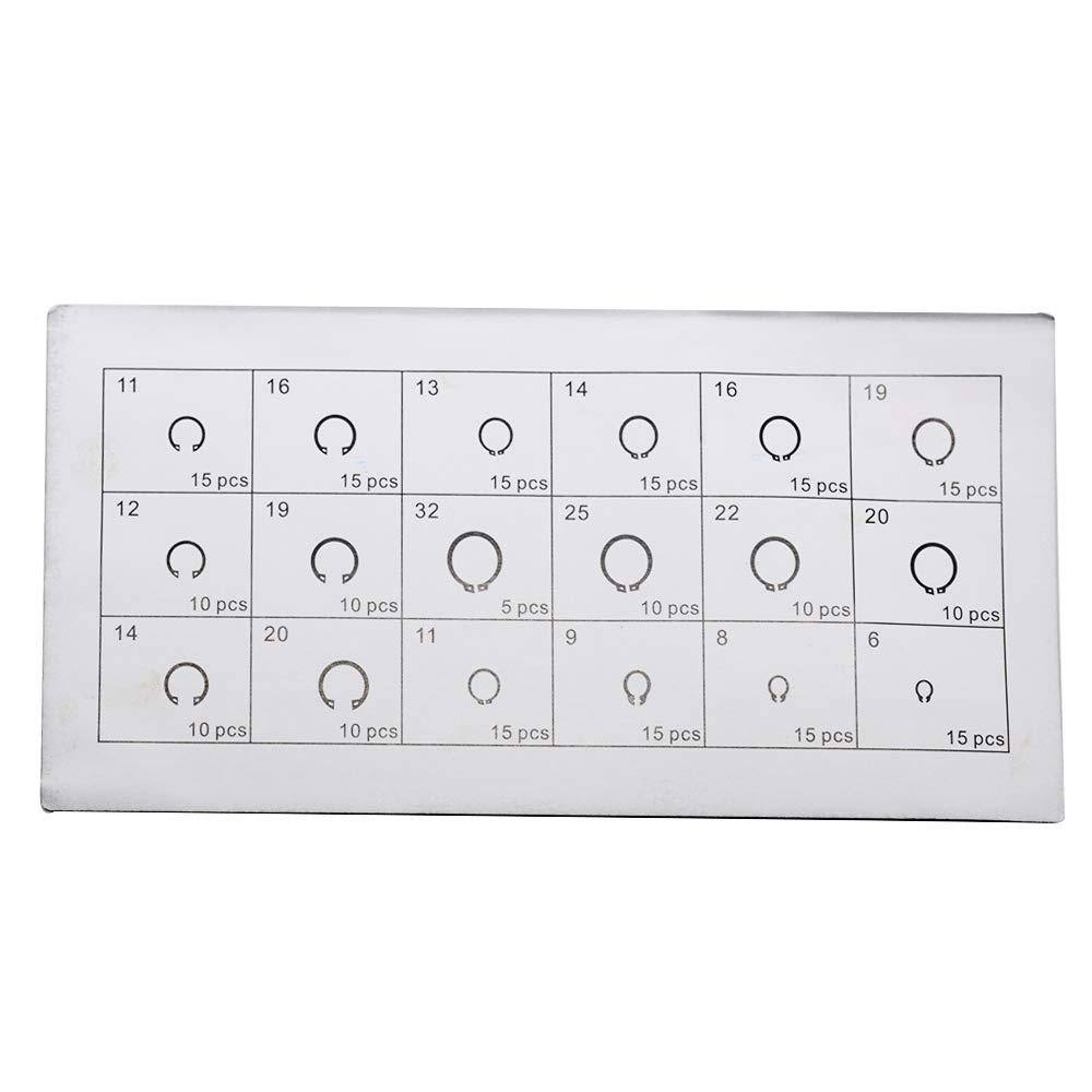 E-Clip Circlip Split Ring External//Internal Retaining Ring Washer Assortment Kit for Shaft Fastener Hardware Accessories 225Pcs