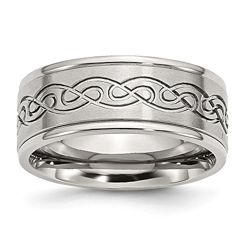 JewelryWeb Stainless Steel Engravable Scroll Design 9mm Brushed and Polished Band Ring - Size 8.5