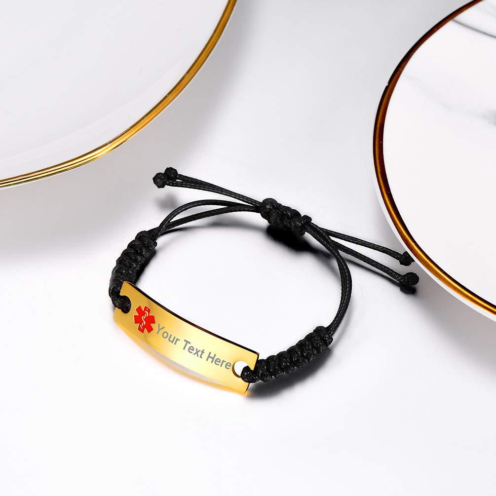 PROSTEEL Bracelet M/édical Alerte Personnalis/é pour Homme Femme Plaque Acier//Plaqu/é Or Bracelet Cordon//Caoutchouc//Jonc Bijoux Personnalisble pour Allergie Patients Sp/éciaux