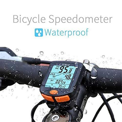Bicycle Computer Wireless Bike Computer Speedometer Digital Odometer Stopwatch Thermometer LCD Backlight Rainproof Black