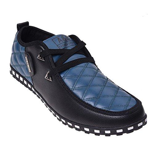 Zapatos de deporte - SODIAL(R) zapatos deportivos ocasionales y impermeable de cuero de moda para hombres(Por favor seleccione 0.5 tamano mas grande!) botas cortas y termicas de nieve azul y negro 9.5