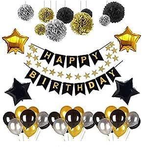 لافتة عيد ميلاد سعيد، لافتة بالونات يوآرت لتزيين حفلات أعياد الميلاد ولوازم حفلات أعياد الميلاد مع بالونات بوم بوم بوم بوم ذات لون أسود وذهبي على شكل نجوم