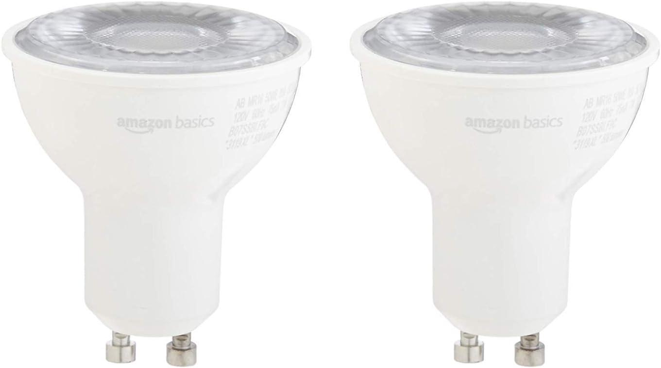 AmazonBasics 50W Equivalent, Daylight, Dimmable, 10,000 Hour Lifetime, MR16 (GU10 Base) LED Light Bulb | 2-Pack